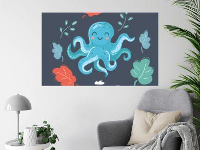 Cute cartoon image of octopus.
