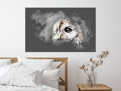 Watercolor drawing of the owl's head in profile with large eyes with white drawing on a gray sheet of paper