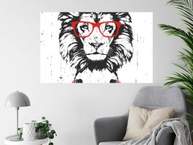 Portrait of Lion with glasses and headphones. Hand-drawn illustration. Vector