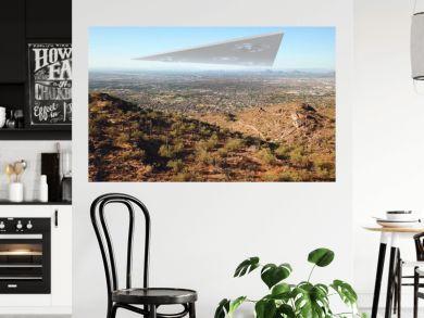 Triangle Alien Spaceship Hovering over Phoenix Arizona City Illustration