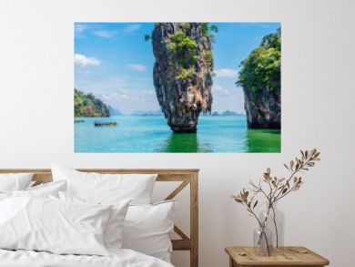 Vertical image amazing nature scenic landscape James bond  island, Phang Nga bay, Attraction famous landmark tourist travel Phuket Thailand summer holiday vacation, Tourism beautiful destination Asia