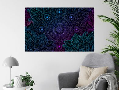 Seamless oriental arabesque pattern. Laced decorative floral pattern with circular ornament, gradient mandala on black background. Mosaic tiles boho, ethnic design in vector, Indian or Arabic motifs.