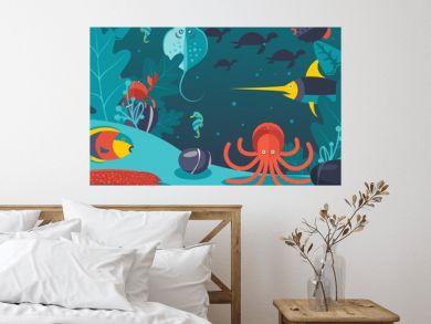 Underwater world vector illustration. Sea creatures in flat style, life at ocean bottom. Fish, octopus and eel under water, exotic animals of ocean, various sea creatures