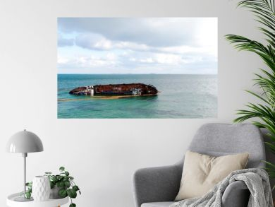 Sunken ship in water. Ship wreck, storm, tragedy.Banner