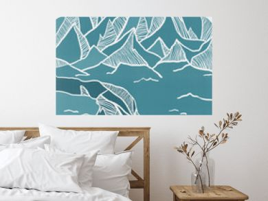 Wall artwork, poster with hand drawn mountains