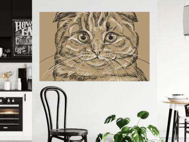 Brown vector cat portrait 4