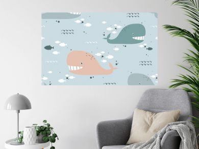 Happy whales, fishes, hand drawn seamless pattern. Marine background vector. Colorful illustration, overlapping backdrop. Decorative cute wallpaper, good for printing