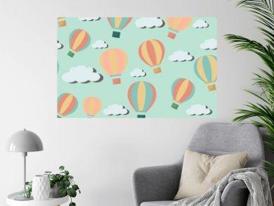 Bright seawmless pattern with cartoon hot air balloons