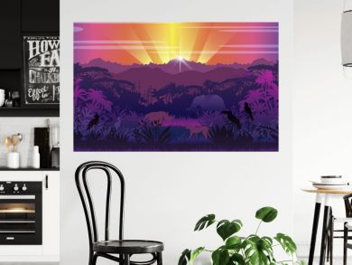 Tropical view with jungle, elephant, rhino, leopard, exotic birds and plants, hills. Panoramic rainforest background with sunset rays and wild animals' silhouettes. African landscape in violet colors