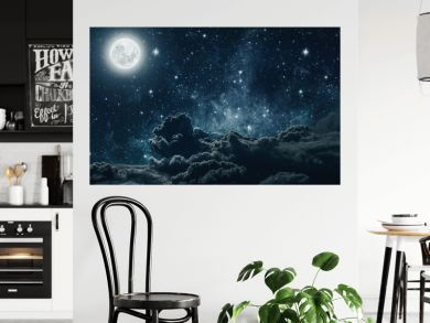 backgrounds night sky with stars and moon and clouds. Elements of this image furnished by NASA