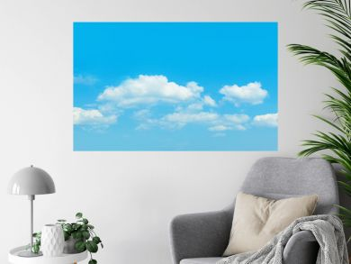 Sky clouds banner background. Perfect skyline, blue sky with clouds