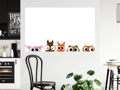 Vector illustration of collection of different animals face on white background. Symbol of curious.
