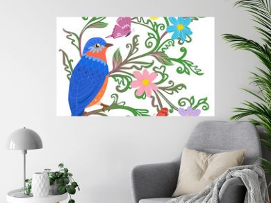 cute blue bird sitting on twigs of green leaves ornament surroun