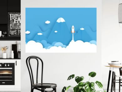 Wide landscape with Rockets glide over the mountains with views over the beautiful clouds on blue background. Business concept. Paper cut style. vector illustration