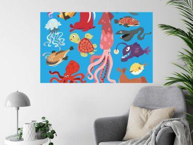 Vector greeting card bright color cartoon underwater world of marine life, fish, octopus, turtle