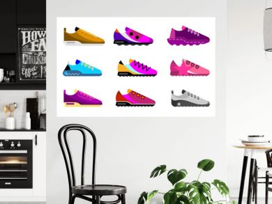 Modern sports shoes collection. Set of multicolored vector icons isolated on white background.