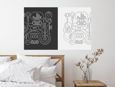 Line art isolated on a dark grey and on a white background Abstract Music Line Art vector illustrations. Design of line art silhouettes of different musical instruments.