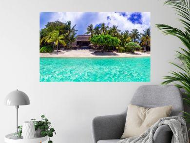 Stunning tropical beach scenery. Paradise island Mauritius, panoramic view of Le Morne beach