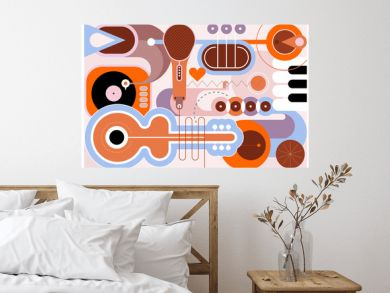 Flat style design of different musical instruments, vector illustration. Art composition of guitar, saxophone, piano keyboard, trumpet, microphone and gramophone.