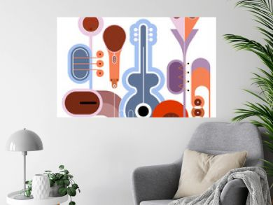 Flat style colored design isolated on a white background Music Instruments vector illustration. Art composition of guitar, saxophone, piano keyboard, trumpet, microphone and gramophone.