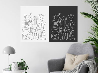 Line art isolated on a dark grey and on a white background Music Instruments vector illustrations.  Guitar, saxophone, piano keyboard, trumpet, microphone and gramophone.