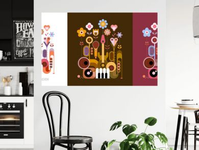 3 options of colored design isolated on a olive / on a white / on a dark red background Flowers and Musical Instruments vector illustration. Blossoming flowers grow from different music instruments.