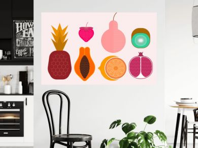 Set of ripe tropical fruits isolated on a light background, vector illustration. Strawberry, pineapple, pear, kiwi, pomegranate, citrus, papaya.