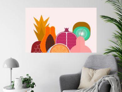 Mix of ripe tropical fruits isolated on a light background, vector illustration. Strawberry, pineapple, pear, kiwi, pomegranate, citrus, papaya.