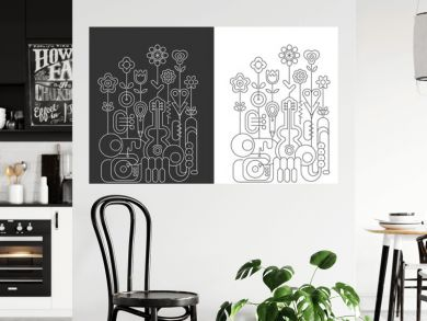 Line art isolated on a dark grey and on a white background Flowers and Music Instruments vector illustrations. Guitar, saxophone, piano keyboard, trumpet, microphone and gramophone. Blossoming flowers