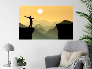 Motivation sunset silhouette  landscape illustration background.