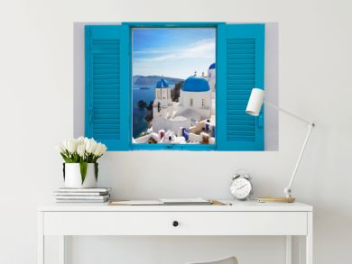 window with view of caldera  and church, Santorini
