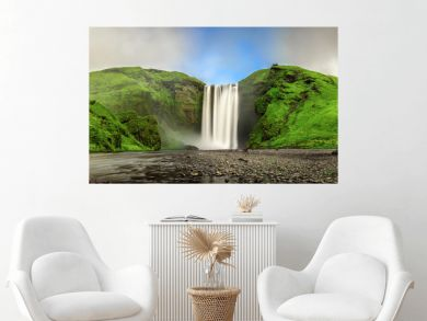 Skogafoss waterfall panorama in southern Iceland from above