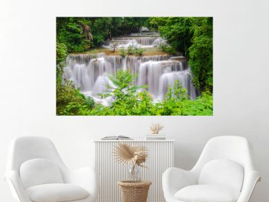 Beautiful waterfall in deep forest, Huay Mae Kamin Waterfall in Kanchanaburi Province, Thailand