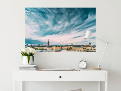 Stockholm, Sweden. Scenic Famous View Of Embankment In Old Town Of Stockholm At Summer. Gamla Stan In Summer Evening. Famous Popular Destination Scenic Place And UNESCO World Heritage Site