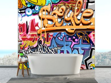 Graffiti wall. Urban art vector background. Seamless texture