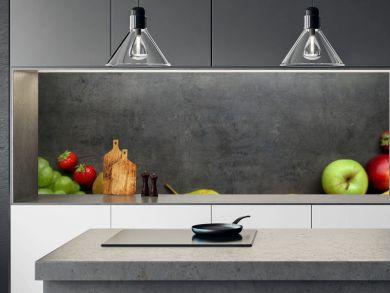 Fresh fruits on grey kitchen table