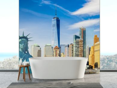 new york cityscape, tourism concept photograph statue of liberty, lower manhattan skyline