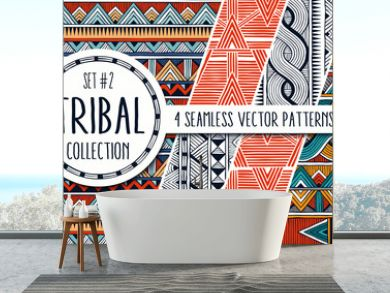 Colorful ethnic patterns collection. Set of 4 modern abstract seamless ornaments. All patterns are available under the clipping mask. EPS10 vector illustration.
