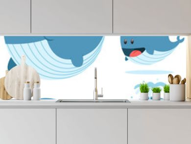 Cute baby of a blue whale in different poses. Vector cartoon character set of sea animal isolated on white background.