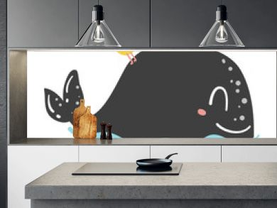 Cute doodle whale