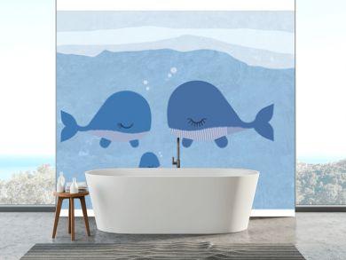 Walfamilie Illustrationn