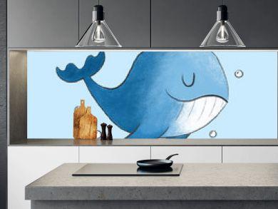 Cute Whale cartoon hand drawn style