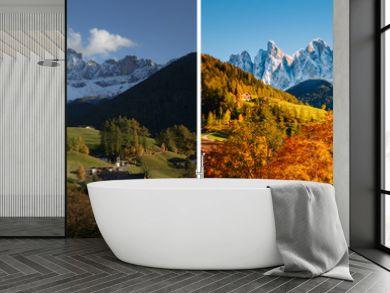 Majestic landscape in Santa Magdalena. Location Funes valley, Dolomiti Alps, Italy, Europe.