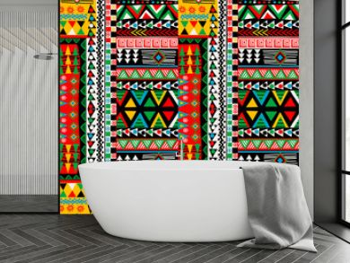 Colored patchwork design with african ethnic motifs