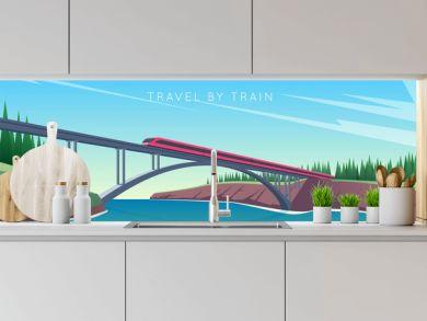 Travel by train concept. Train rides over the bridge. The bridge across the river. Vector illustration