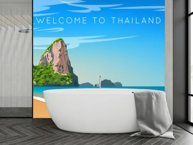 Thailand. Phuket landscape. Wide panorama. Mountains, beach and ocean. Vector illustration