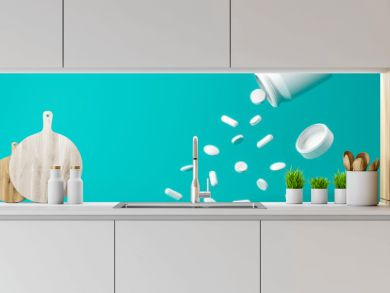 White pills bottle of aspirin tablets on green background with pharmacy and splashing concept. White capsule or drugs. 3D rendering.