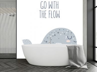 Vector hand drawn poster for nursery decoration with cute whale and lovely slogan. Doodle illustration. Perfect for baby shower, birthday, children's party, spring holiday, clothing prints