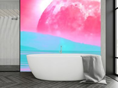 Landscape of an alien planet book cover proportions - huge pink moon reflects in calm ocean water - digital illustration. Elements of this image are furnished by NASA