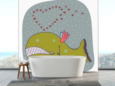 cartoon whale valentine card
